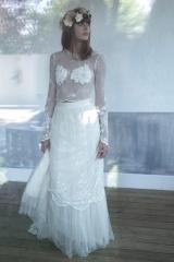 Haut transparent de mariée et jupon de tulle Sylvie Mispouillé