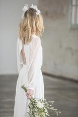 Robe de mariée fluide à manches longues sylvie Mispouillé