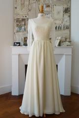 Robe de mariée en mousseline de soie Sylvie Mispouillé