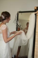 Robe de mariée essayage final de la robe Sylvie Mispouillé