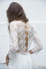 Robe de mariée dos dentelle et manches longues Sylvie Mispouillé