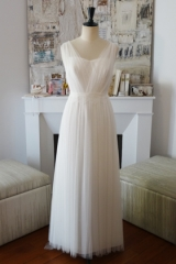 Robe de mariée en tulle de soie atelier Sylvie Mispouillé