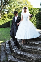 Année 50 création de robe de mariée Sylvie Mispouillé