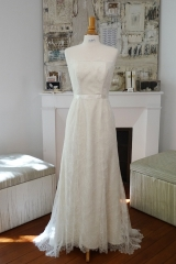 Création robe de mariée en dentelle Sylvie Mispouillé