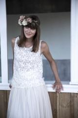Haut de mariée en tulle brodé atelier de création Toulouse Sylvie Mispouillé