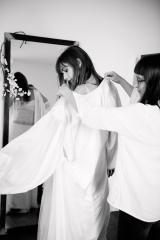Manteau en soie pour mariage d'hiver Sylvie Mispouillé