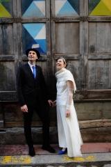 Robe de mariée en crepe et tulle de soie Sylvie Mispouillé