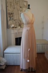 Robe de mariée tulle de soie rose poudre Sylvie Mispouillé
