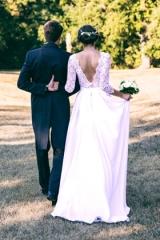 Robe de mariée fluide par atelier Sylvie Mispouillé