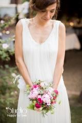 Création de robe de mariée en crèpe et tulle de soie Sylvie Mispouillé
